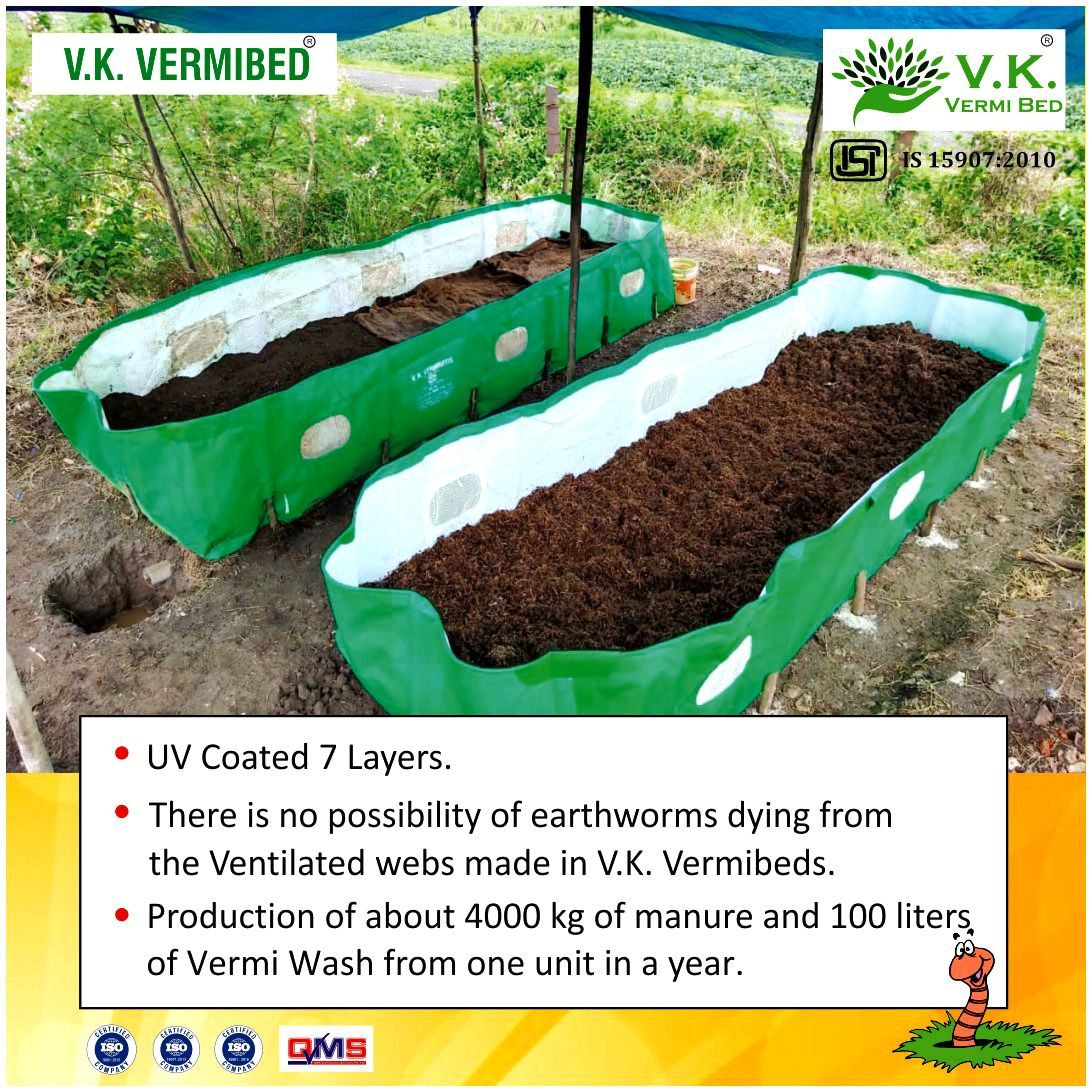 V.K. Vermibeds 12X4X2, HDPE Fabric (340 GSM)- Multiunit Pack