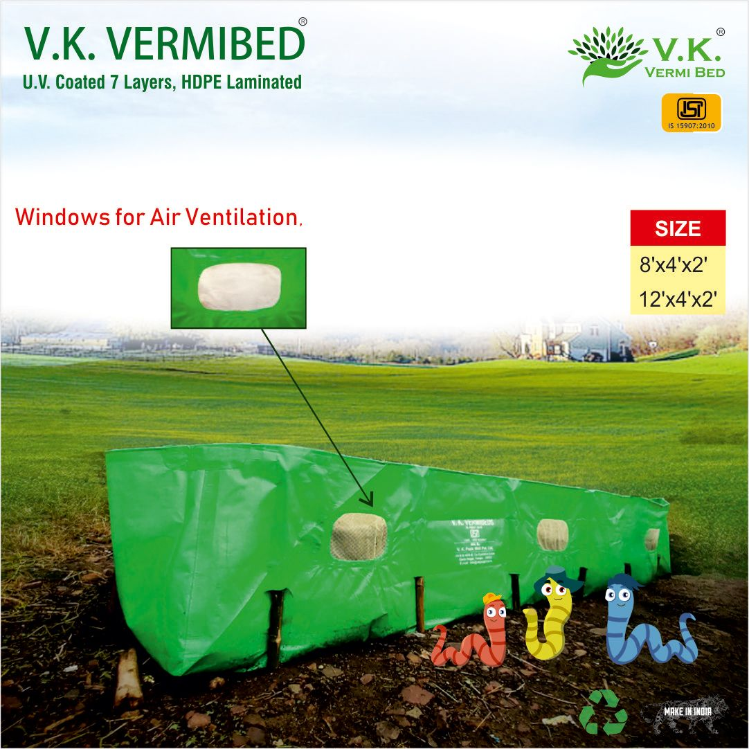 V.K. Vermi Beds 275 GSM, HDPE Fabric, UV Coated for Vermi Compost - 12x4x2 ft